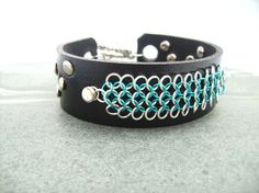 Black Leather Chainmail Bracelet Cuff £20.00