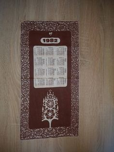 Fabric Calendar 1982 Retro Calendar Brown Retro Design Calendar Soviet Design Wonderful Gift by TinutesCreations on Etsy