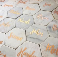 Personalized marble coasters as wedding favors More