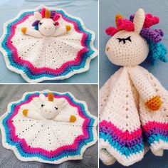 Crochet Rainbow Unicorn Lovey/Security Blanket