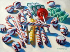 Candy Canes Oil on Canvas (Leigh-Anne Eagerton, painting) Candy Drawing, High School Art Projects, Oil Painting Techniques, Candy Art, Art Addiction, Art Portfolio, Oil Painting Abstract, Food Illustrations, Food Art