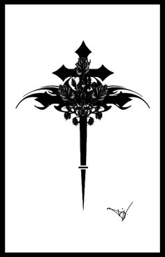 cross art | Gothic Cross With Roses by ~Quicksilverfury on deviantART
