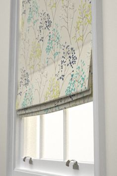 Pippin Roman Blinds by Sanderson. Overlapping stylised branches with jewel like berries. Shown here in Teal/Linden green. Also available as co-ordinating wallpaper. Please request sample for true colour and texture.