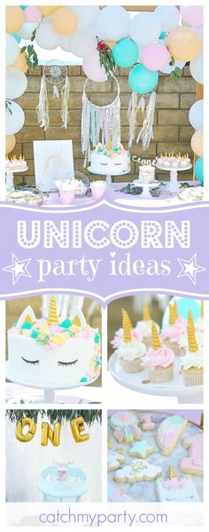 Don't miss this amazing Boho Unicorn 1st birthday party!! The birthday cake & cookies are amazing!! See more party ideas and share yours at CatchMyParty.com