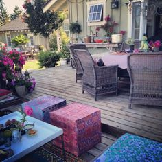 Print, pattern and texture on a deck...warms up the space immediately