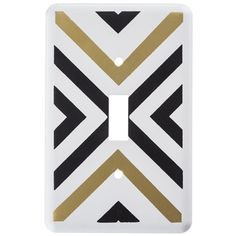 Black & Gold Geometric Single Switch Plate