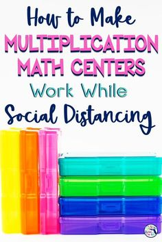 Trying to figure out how to do math centers while also keeping students safely social distancing? Math centers are one of the most effective ways for students to practice important math concepts. This post shows you two options for task cards you already have or this set of multiplication task cards that give students 5 ways to practice. #multiplicationtaskcards #multiplication #socialdistancing #mathcenters