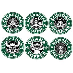Disney Characters Starbucks Decal Stickers 4x4 por HipsterMakings