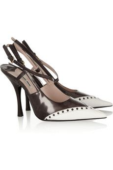 Two-tone glossed-leather slingbacks by Miu Miu