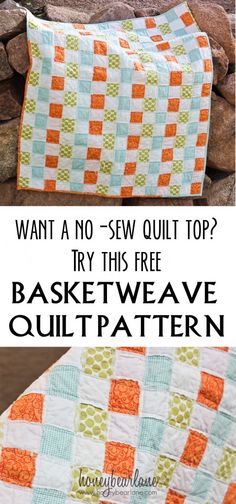 no sew quilt pattern (I personally, would sew a machine feather stitch over raw edges before washing and using the quilt.)