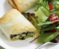 Chicken, Spinach and Feta Parcels - Coles Recipes & Cooking Light Recipes, Wine Recipes, Great Recipes, Cooking Recipes, Healthy Recipes, Pastry Recipes, Healthy Dinners, Coles Recipe, Tacos