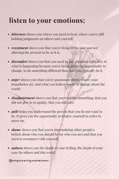 Psychological Tips For Love - The Importance of Listening To Your Emotions – Empowering Women Now - Vie Motivation, Vie Positive, Positive Mindset, Positive Self Talk, Self Care Activities, Therapy Activities, Summer Activities, Cbt Therapy, Therapy Journal