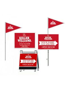 """This standard kit includes: (2) For Sale sign - 18"""" x 24"""",  (4) white sign stakes - 48"""" in height, (4) flagpole sets (includes flags) - 60"""" tall,  (4) Open House signs -  18""""x24"""",  (2) Deluxe A-Frames 22"""" x 24"""".  All designed to help draw attention to your next open house."""