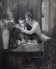 Squires, C Clyde (b,1883)- Man Reading to Woman (or, Mayhap, Man Writing Check to Woman) -2b
