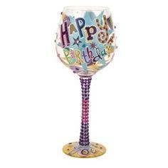 Lolita Super Bling Happy Birthday Wine Glass