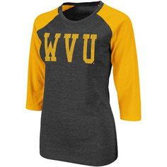 West Virginia Mountaineers Ladies Vision Three-Quarter Sleeve Raglan T-Shirt - Charcoal-Old Gold