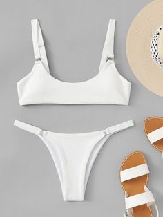 Shop Scoop Neckline Top With String Textured Bikini Set online. SheIn offers Scoop Neckline Top With String Textured Bikini Set more to fit your fashionable needs. Long Torso Swimsuits, Cut Out Swimsuits, Two Piece Swimsuits, Women Swimsuits, Women's Plus Size Swimwear, Trendy Swimwear, Plus Size Bikini, Curvy Swimwear, Summer Swimwear