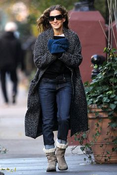 Sarah Jessica Parker wore a knitted cardigan with skinny jeans and  shearling boots for a day. Celebrity StyleCelebrity ... 84eeb2f4d03