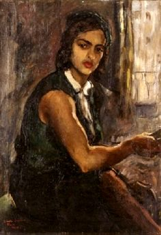 Amrita Sher-Gil   amrita sher gil self portrait in green 1934 amrita sher gil 1913 1941 ...