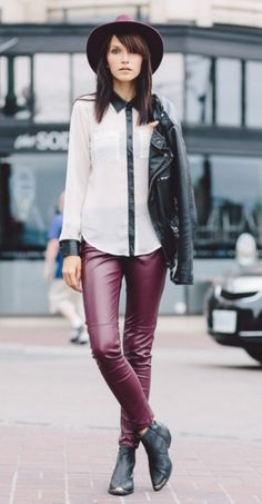 08d3bba3ebae9 chiffon shirt with burgundy leather trousers Autumn Street Style, Fashion  Lookbook, Bordeaux, Leather