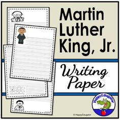 Martin Luther King Jr Writing Paper Lined for MLK Day or Black History Month - Martin Luther King Day Writing Paper. This Lined Paper has a cute MLK theme. Ten pages, two differe - Comprehension Activities, Teaching Activities, Holiday Activities, Teaching Resources, Teaching Ideas, Math Literacy, Kindergarten Writing, Literacy Centres, Cool Writing
