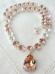 Blush pink and clear Swarovski crystal by EldorTinaJewelry on Etsy, $108.00