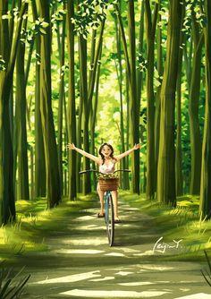 Spring Forest, Alone Art, Cute Girl Wallpaper, Cartoon Art Styles, Bike Art, Anime Art Girl, Aesthetic Art, Cute Drawings, Wall Art Prints