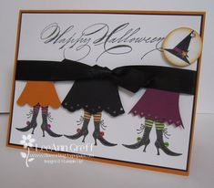 Adorable halloween card. Looks like the dresses are made from scraps and then trimmed with a punch.