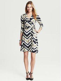 Gemma Chevron-Print Wrap Dress