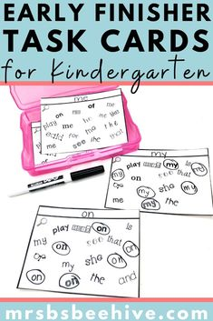 Give your students early finisher activities that are engaging and educational.  These task cards are meant to be done independently to help free up your teacher time for those students who need assistance!Help students increase sight word recognition with these kindergarten task cards. Letter Formation, Number Formation, Early Finishers Activities, Fast Finishers, Letter Matching, Letter Recognition, Your Teacher, Kindergarten Classroom, Task Cards