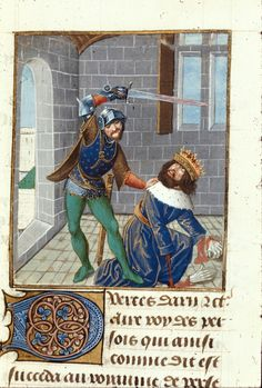 Detail of a miniature of the death of Xerxes, at the beginning of chapter 6 of book Origin: Netherlands, S. (Bruges) De casibus virorum illustrium in French translation (Des cas des ruynes des nobles hommes et femmes Giovanni Boccaccio, Medieval Paintings, Library Catalog, British Library, Bruges, 15th Century, Illuminated Manuscript, Cas, Miniatures