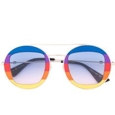 df940d18b6ea Gucci Eyewear rainbow round frame sunglasses (€425) ❤ liked on Polyvore  featuring accessories
