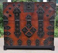 korean wedding chest | korean wedding chest wood iron korea c 1850 34 5w x 16 5d x 33h