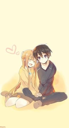 Asuna & Kirito SAO Love Art Anime Girl Boy Wallpaper IPhone my edition A.Aisuru