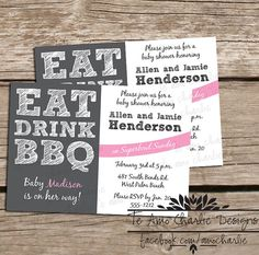 Printable Eat Drink BBQ Baby Shower Invitations - Eat Drink and BBQ Invitations on Etsy, $14.00