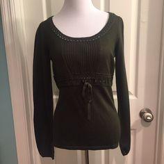 LOFT dark green wool sweater Dark olive green. Soft cashmere blend. Elastic at sleeve hems. Grosgrain ribbon at rib cage. Cotton knit at neckline. LOFT Sweaters
