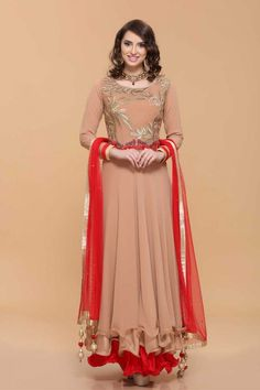 Shop the latest new arrival Brown Long Anarkali Dresses - Asian Gown Online now in store. Presents by Andaaz Fashion http://www.andaazfashion.co.uk/salwar-kameez/anarkali-suits/brown-georgette-anarkali-churidar-suit-1670.html