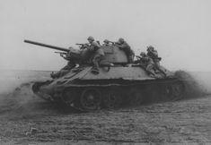 Soviet tank T-34 tank landing during attack
