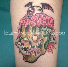 Zombie cupcake Zombie Cupcakes, Tatting, Tattoo Ideas, School, Bobbin Lace, Needle Tatting