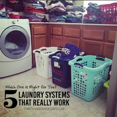 5 Laundry Systems that Really Work! tips tips and tricks tips for big families tips for hard water tips for towels Household Organization, Home Organization Hacks, Organizing Ideas, Chore Ideas, Laundry Schedule, Laundry Sorting, Laundry Hacks, Laundry Rooms, Organized Mom