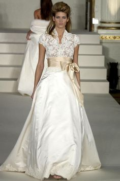 Take a walk down memory lane with Monique Lhuillier and her bridal style evolution throughout the past twenty years. this would make a gorgeous evening dress in another color Used Wedding Dresses, Elegant Wedding Dress, Bridal Dresses, Older Bride Dresses, Lace Wedding, Vetement Fashion, Mode Outfits, Wedding Attire, Beautiful Gowns