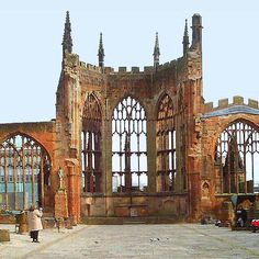 Coventry Cathedral, Coventry, England. Ruins of bombed out cathedral
