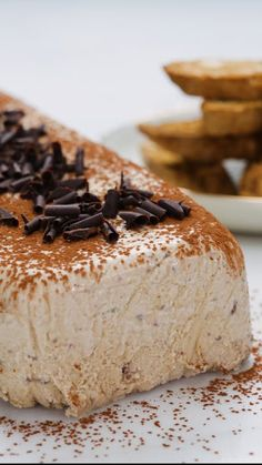 Cappuccino Semi-Freddo With White Chocolate And Coffee Biscotti ~ Recipe Frozen Desserts, Just Desserts, Biscuits Au Café, Mousse, Cookie Recipes, Dessert Recipes, Biscotti Recipe, Italian Desserts, Food Cakes
