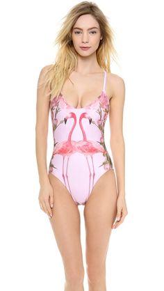 89525e34664fb Wildfox Florida Garden One Piece Swimsuit Polka Dot Bikini