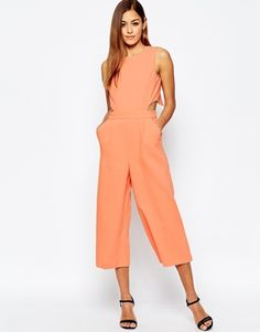 ASOS Jumpsuit with Cut Out Cross Back and Wide Leg