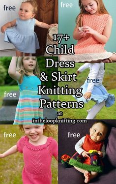 Knitting patterns for Children's Dresses and Skirts, most of the patterns are free. Nothing's more fun to wear or knit than a twirly flouncy fun dress or skirt!