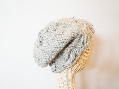Slouchy Hat - Knit Beanie / Tam in Gray Tweed - Choose Your Color - Merry Wives - Lit Knits.