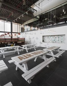 Stenciled Tables at Nike Canteen by Uxus Design, Remodelista