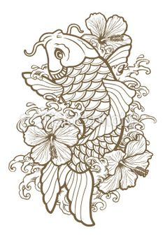 stock-illustration-13328866-koi-fish-and-hibiscus-line.jpg (262×380)