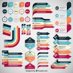 Infographic banners collection Free Vector
